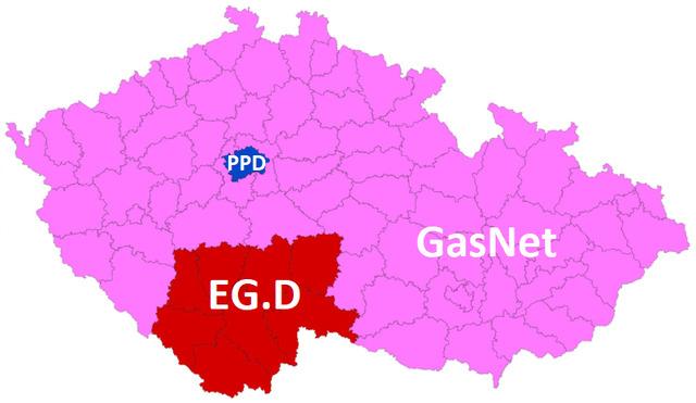 Distribuční soustava (území, regiony), distributor plynu