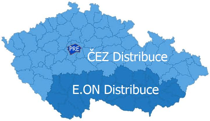 Distribuční území elektřiny