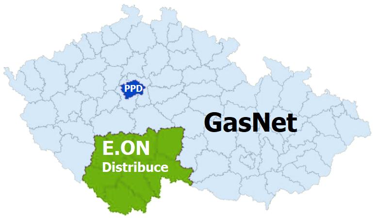 Distribuční území plynu
