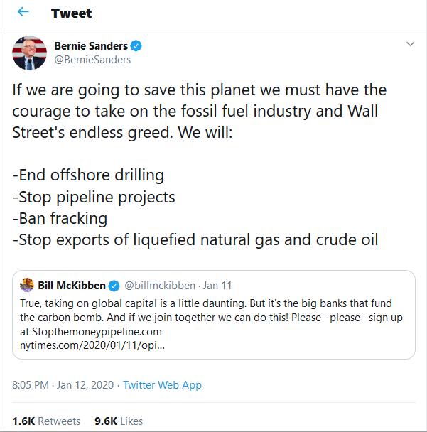 Bernie Sanders a fosilní paliva