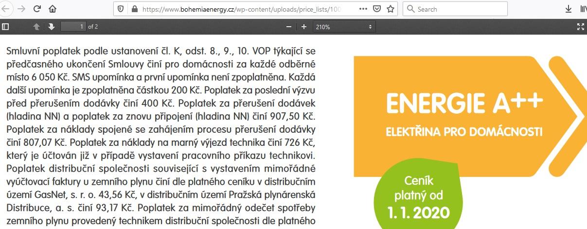 Bohemia Energy entity, Start++, obchodní podmínky
