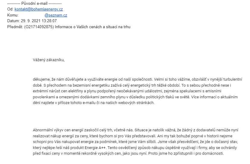 Bohemia Energy, e-mail, Energie A++